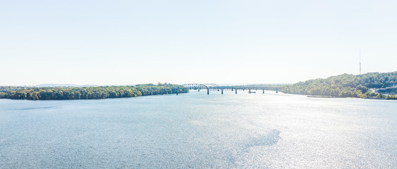 Patapsco river panorama with highway bridges during day in Baltimore, Maryland, USA