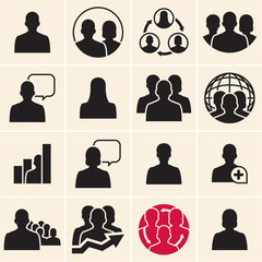 Business people icons. Vector people black icons set.