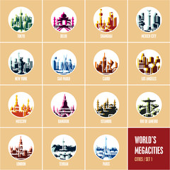 colorful city icons, modern flat style travel destinations icons, round icons