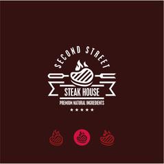steak house logo, steak icon, bbq, grill menu