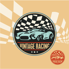 Vintage racing car label, retro sport car vector sign