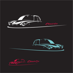 Classic car silhouette on black background. Retro car vector banner