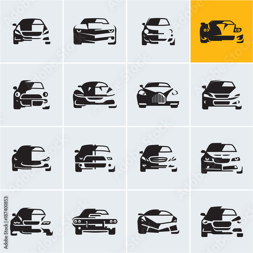 Car Icons Graphic Vector Car Silhouettes Car Front View Car Logo