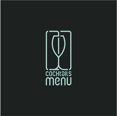 cocktail glass icon, cocktail menu line style cover design
