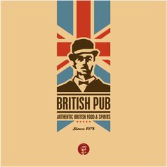 british food, british pub label, beer, gentleman