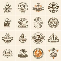 bakery logo, bakery icons set, bakery labels, bread, pastry