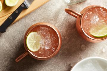 Moscow mule in copper mugs.
