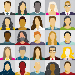 flat people icons, avatars, woman face, man face, people races