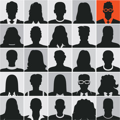 people silhouettes, business people, avatars, vector people icons