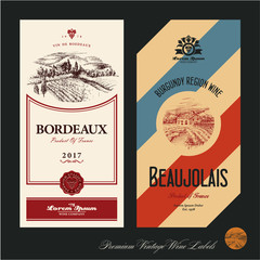Wine labels. Vineyard