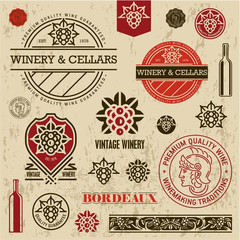 Wine labels, stamps and logos set, grape sign