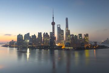 Shanghai cityscape at sunrise in the mornig