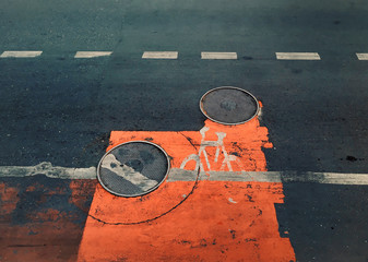 Cyclist path sign on road
