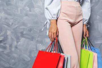 Asian girl holding shopping bag vintage.