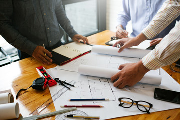 Meetings in home and property engineering companies of the group of professional contractor