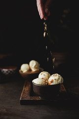Ice cream with caramel and hazelnuts