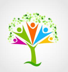 Family tree team figures icon vector