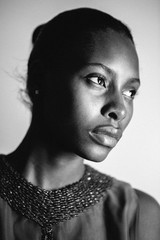 Black and white portrait of a stylish black woman