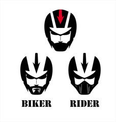 rider, biker, a set of rider heads