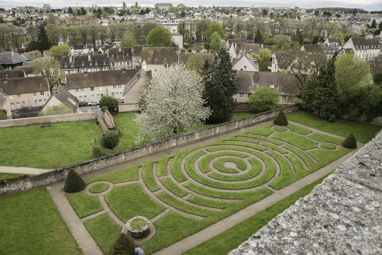 looking out over Chartres from above the labyrinth in bishops palace garden