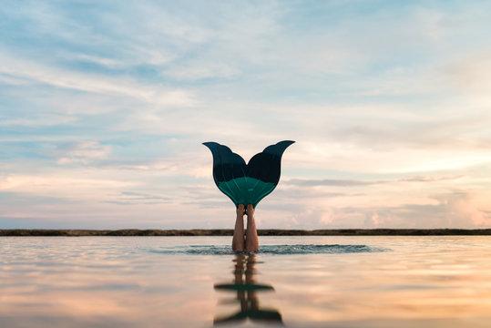 Mermaid Swim Fin In A Water