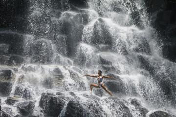 Warrior pose at the Yoga Waterfalls