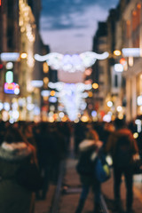 Street life by the night blurred