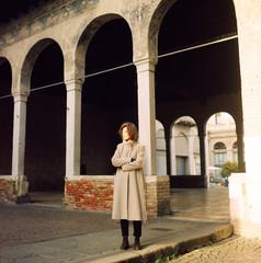 A beautiful woman in italian street