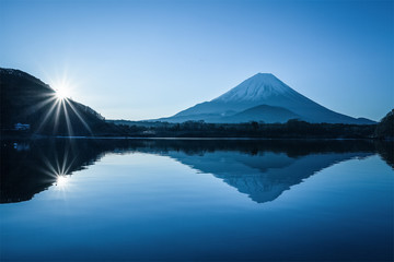 Winter Mountian Fuji and Lake Shoji in morning sunrise. Lake Shoji is the one of the Fuji Five Lakes and located in southern Yamanashi Prefecture near Mount Fuji