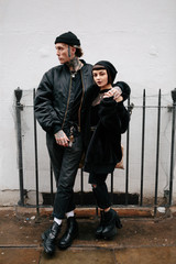 Attractive punk couple around london.