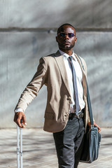 African businessman in the street