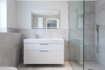 Close-up of a shower room showing integrated basin  and shower unit.