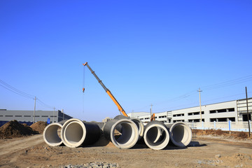 Cement pipe in the construction site