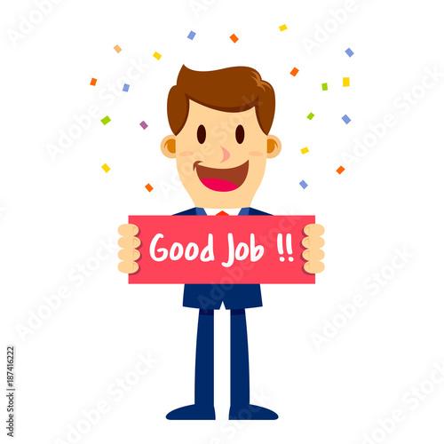 businessman in suit holding sign saying good job stock image and rh fotolia com good job clipart free good job clipart free