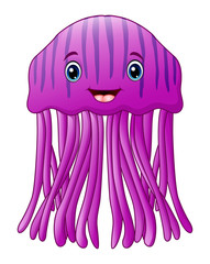Cute happy jellyfish cartoon