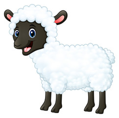 Cartoon happy sheep smiling