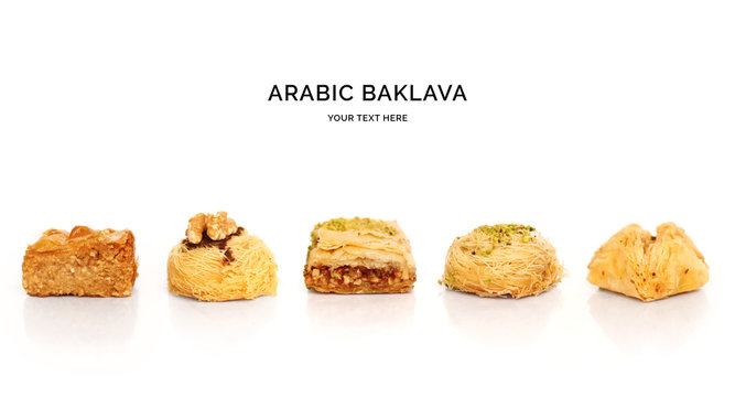 Seamless pattern with baklava. Sweets abstract background. Baklava on the white background.