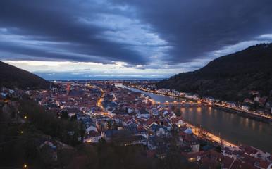 Cityscape of Heidelberg, Germany at twilight.