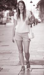 Girl enjoying walk around city