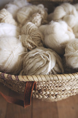 Close up of balls of wool / yarn