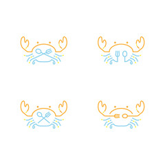 Crab icon outline stroke set dash line design illustration orange yellow and blue color isolated on white background, vector eps10