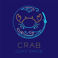 Crab, Fishing rod circle shape, Water splash and Air bubble logo icon outline stroke set dash line design illustration isolated on dark blue background with Crab text and copy space