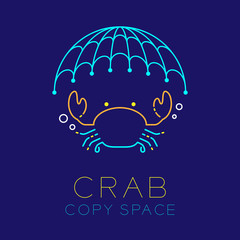 Crab, Fishing net and Air bubble logo icon outline stroke set dash line design illustration isolated on dark blue background with Crab text and copy space