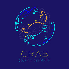 Crab, Water splash, Coral, Seaweed and Air bubble icon outline stroke set dash line design illustration isolated on dark blue background with Crab text and copy space