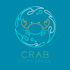 Crab, Water splash circle and Air bubble logo icon outline stroke set dash line design illustration isolated on blue background with Crab text and copy space