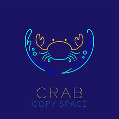 Crab, Water splash and Air bubble icon outline stroke set dash line design illustration isolated on dark blue background with Crab text and copy space
