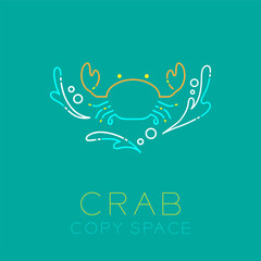 Crab, Water splash and Air bubble icon outline stroke set dash line design illustration isolated on green background with Crab text and copy space
