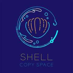 Shellfish, Fishing rod circle shape, Water splash and Air bubble logo icon outline stroke set dash line design illustration isolated on dark blue background with Shell text and copy space