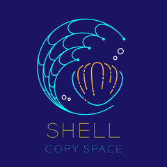 Shellfish, Fishing net circle shape and Air bubble logo icon outline stroke set dash line design illustration isolated on dark blue background with Shell text and copy space