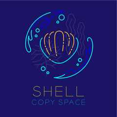 Shellfish, Water splash, Coral, Seaweed and Air bubble icon outline stroke set dash line design illustration isolated on dark blue background with Shell text and copy space